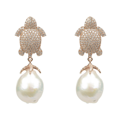 White Pearls Animal Print Drop Earring