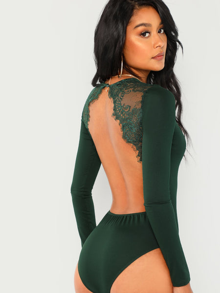 Green Lace Contrast Backless Skinny Bodysuit