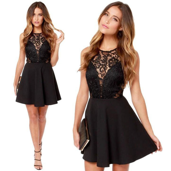 Black Sleeveless Above Knee Cocktail Dress