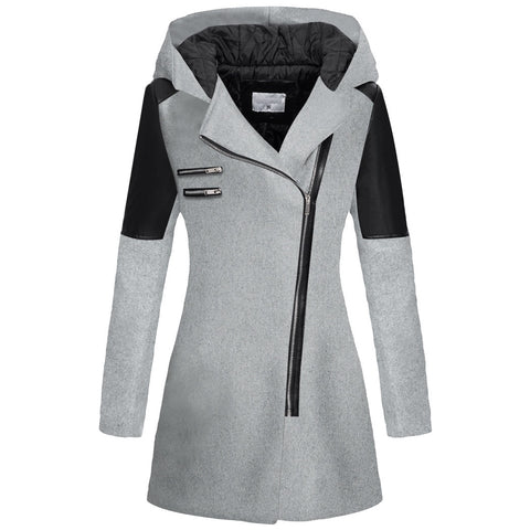 Dark Gray Hooded Long Sleeve Leather Coat