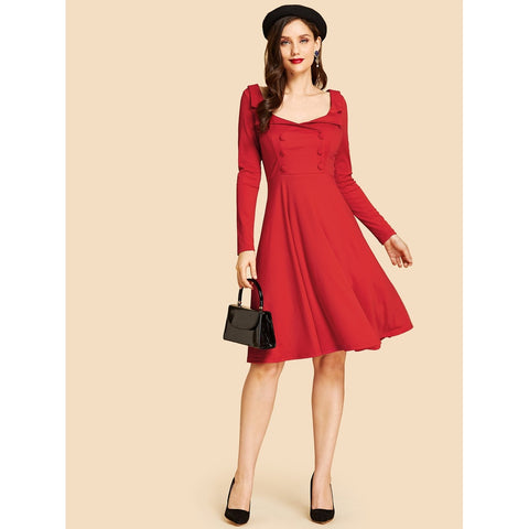 Cocktail & Party Dresses - Women's Trendy Red Double Button Fit And Flare Dress