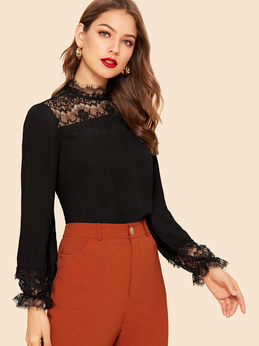 Black Lace Insert Keyhole Back Top