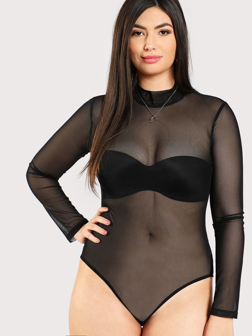 Plus Size Black Mock Neck Mesh Bodysuit