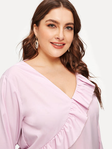 Plus Size Pink V-neck Ruffle Tunic Top