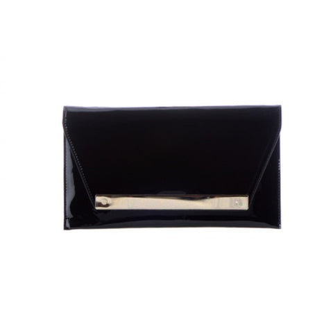 Flap Black Leather Clutch Bag