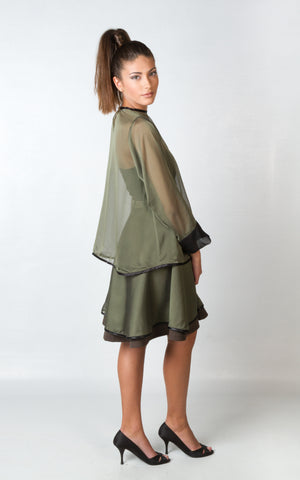 Shirts - Women's Trendy Green Satin Blouse