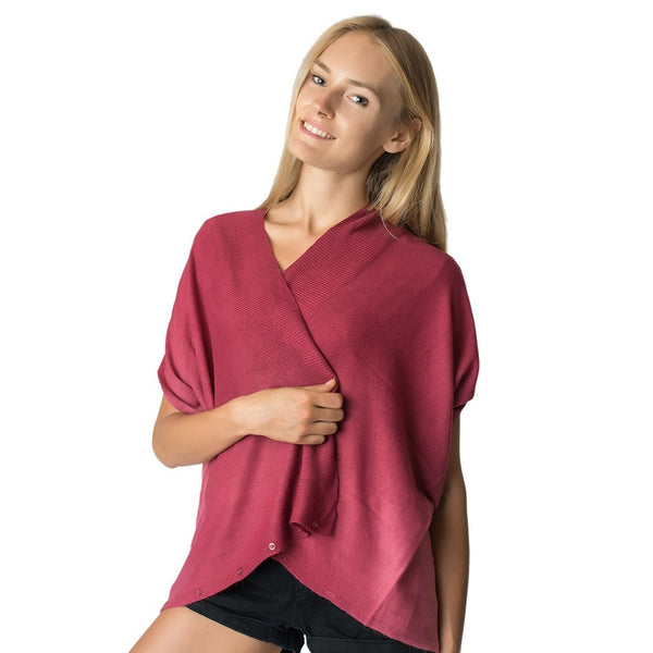 Womens 2 Color Knit Poncho