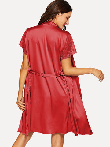 Nightwear - Women's Trendy Red Contrast Lace Pajama Set With Robe
