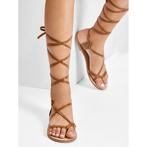 Brown Lace Up Knee High Gladiator Sandal Boots