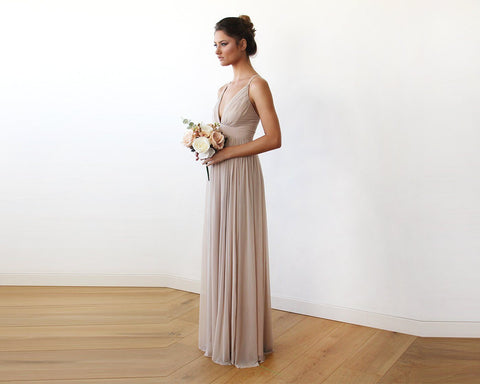 Taupe V-Neck Spaghetti Strap Maxi Dress