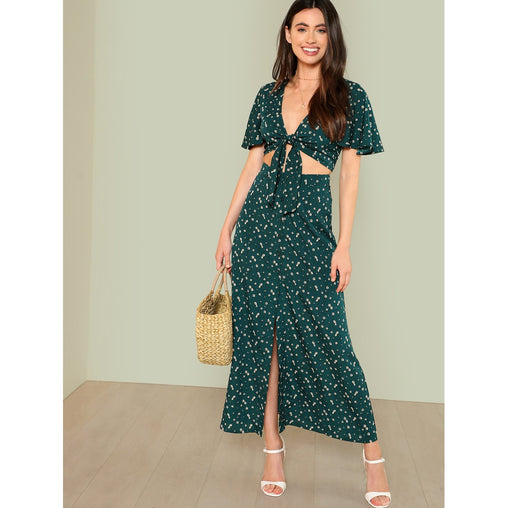 Green Bell Sleeve Knot Top and Skirt Set