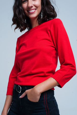 Red High Neck Sleeves Sweater