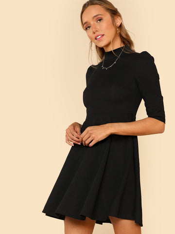 Day Dresses - Women's Trendy Mock Neck Fit Flare Dress