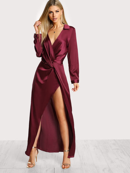Burgundy Satin Front Twist Wrap Dress