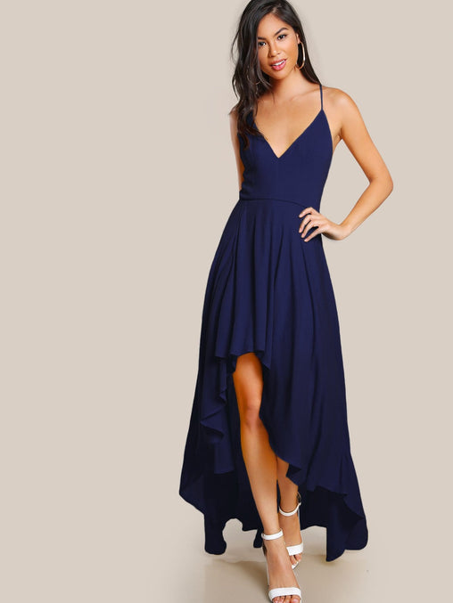Blue Backless High Low Party Dress