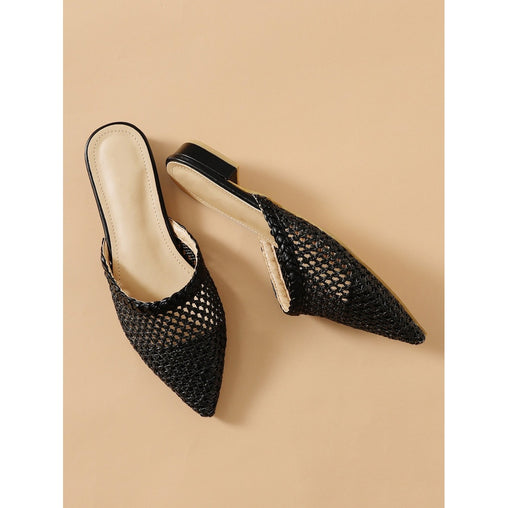 Black Pointed Toe Woven Flats