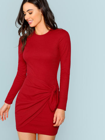 Day Dresses - Women's Trendy Knotted Wrap Front Fitted Dress