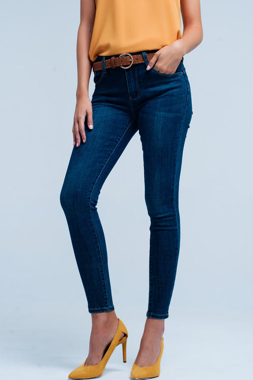 Blue Skinny Pocket Jeans