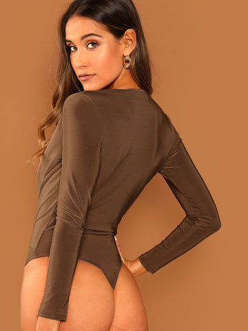 Bras - Women's Trendy Camel Surplice Neckline Long Sleeve Bodysuit