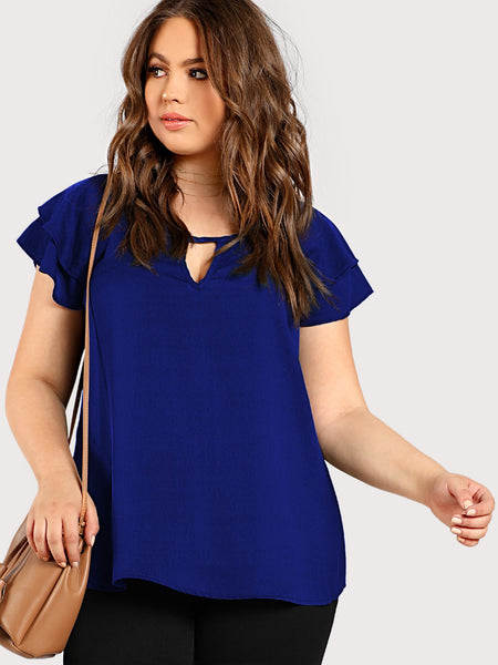 Plus Size Blue Keyhole Front Layered Raglan Sleeve Top