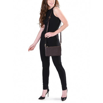 Phive Rivers Women's Leather Brown Crossbody Bag