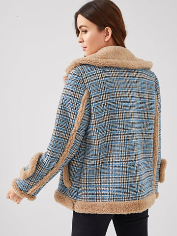 Ups - Women's Trendy Multicolor Waterfall Collar Contrast Faux Fur Plaid Coat