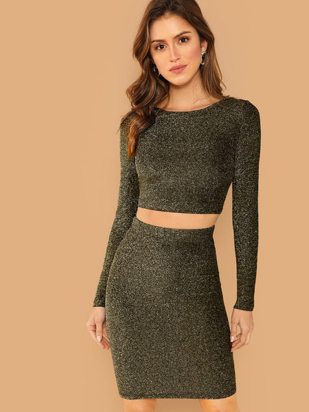 Gold Glitter Crop Bodycon Top and Skirt Set