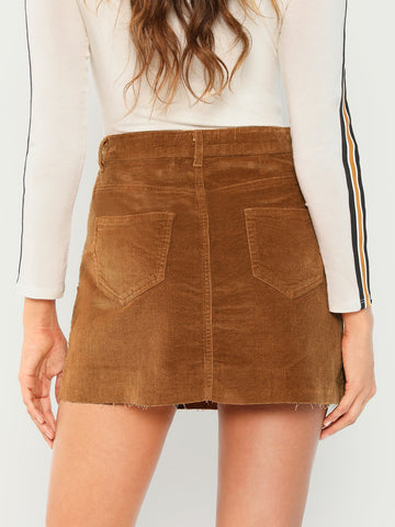 Skirts - Women's Trendy Camel Corduroy Aline Raw Edge Mini Skirt With Pockets