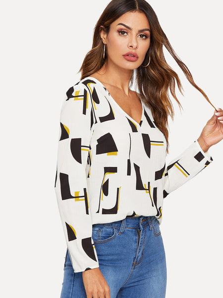 White V-Neck Geo Print Top