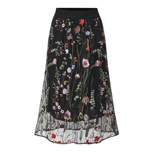 Black Floral Embroidered Mesh Overlay Midi Skirt