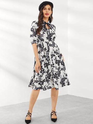 Casual Dresses - Women's Trendy Black And White Keyhole Tie Neck Floral Print Fit Flare Dress