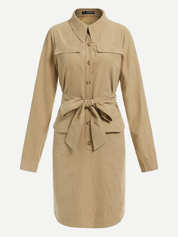 Day Dresses - Women's Trendy Khaki Drawstring Waist Utility Dress