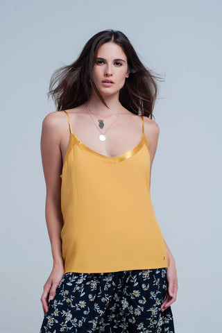 Bras - Women's Trendy Yellow Shiny Cami