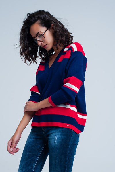 Blue V-Neck Striped Sweater