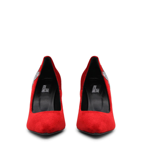 Pumps - Women's Trendy Love Moschino Red Leather Pointed Toe Pumps