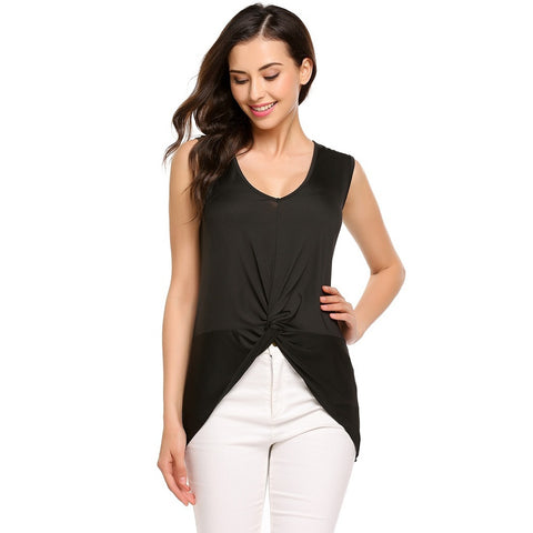 Vests & Tank Tops - Women's Trendy Black V-Neck Sleeveless Tank Top