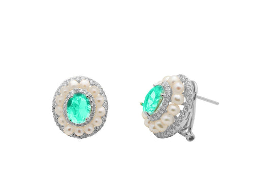 Golden Pearls Round Zircon Earring