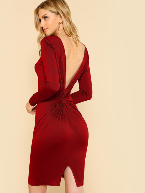 Burgundy Twist V Back Fitted Dress