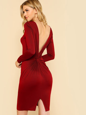 Day Dresses - Women's Trendy Burgundy Twist V Back Fitted Dress