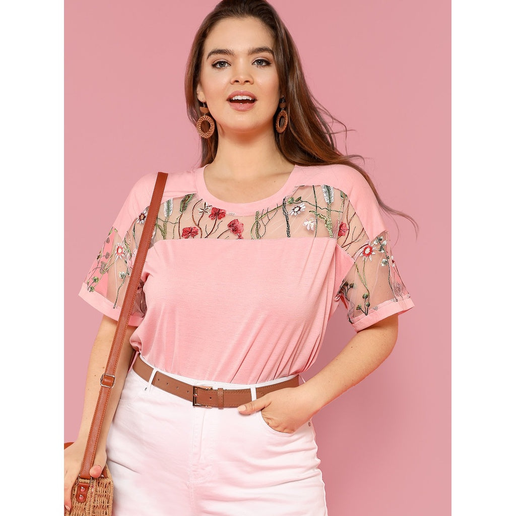 4a52c6f4b21 Fashiontage - Plus Size Pink Embroidered Mesh Yoke Top - 920945131581
