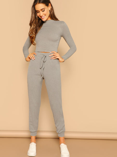 Grey Fitted Crop Top & Pant Set