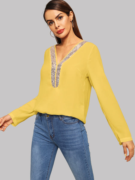 Yellow V Neck Contrast Sequin Top