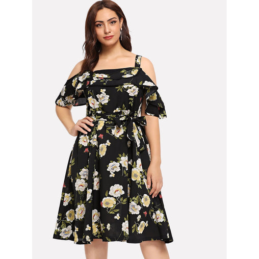 Plus Size Black Cold Shoulder Flounce Embellished Dress