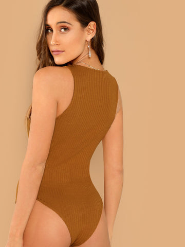 Bras - Women's Trendy Mustard Front Button Placket Rib Knit Sleeveless Bodysuit