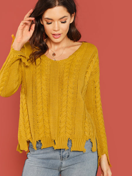 Mustard Chunky Knit Shredded Hem Pullover Sweater