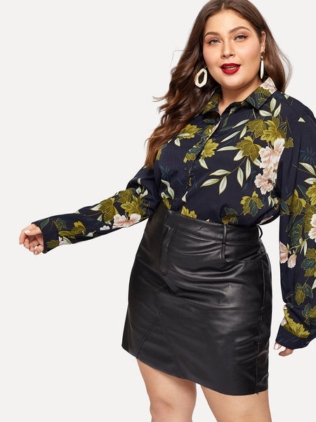Plus Size Button Up Flower Print Top