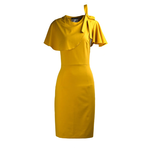 Yellow Ruffle Neckline Shift Midi Dress