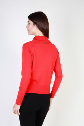 Cavalli Class Red Collar Long Sleeve Sweater