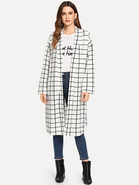 Black And White Shawl Collar Plaid Coat