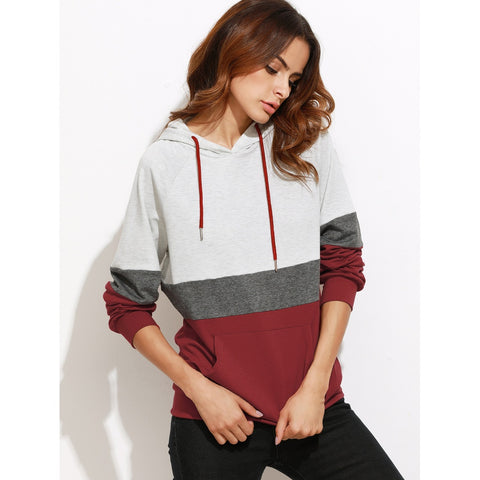 Color Block Raglan Sleeve Hoodie With Pocket - Fashiontage